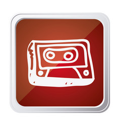 Button of cassette tape with background red and vector