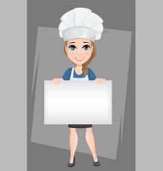 Chef woman holding big blank banner cute cartoon vector