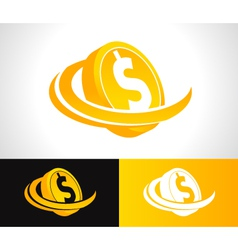 Dollar coin logo icon vector