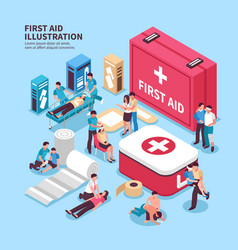 First aid box background vector