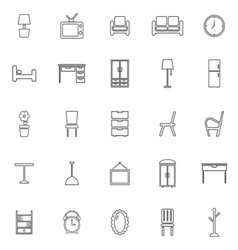 Furniture line icons on white background vector image vector image