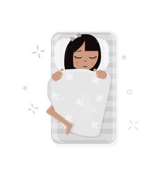 girl sleeping in bed vector image vector image