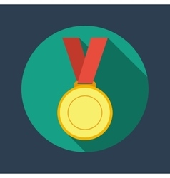 Gold medal winner of the prize- on a red ribbon vector
