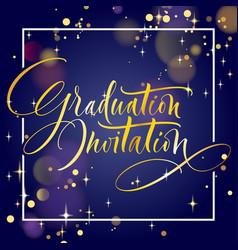 Graduation invitation hand lettering vector