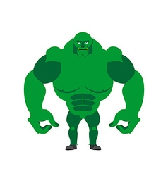 Green goblin on a white background strong monster vector