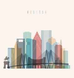 houston state texas skyline detailed silhouette vector image vector image