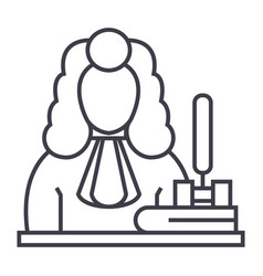 judgegavel line icon sign vector image
