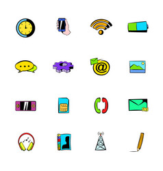Mobile icons set cartoon vector