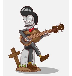 Monster in halloween night skeleton play guitar vector