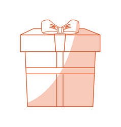 orange shading silhouette cartoon giftbox with vector image vector image
