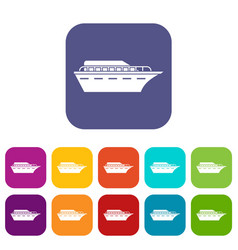 Powerboat icons set vector