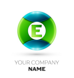 Realistic letter e logo symbol in colorful circle vector