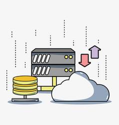 Security data center connection server vector