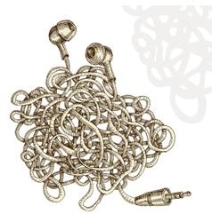 Tangled earphones vector