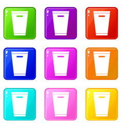 trash can icons 9 set vector image