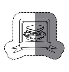 white emblem sandwich fast food icon vector image