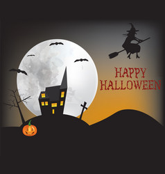 Witch flying over the house vector