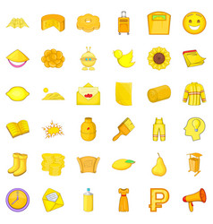Yellow bottle icons set cartoon style vector