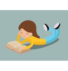 Young girl happy smiling reading book lying on vector