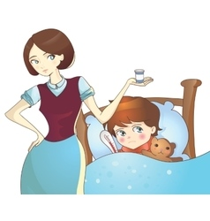 Sick child lying in bed and mother with medicine vector