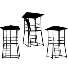 silhouettes of watchtowers vector image