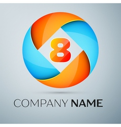 Number eight logo symbol in the colorful circle te vector