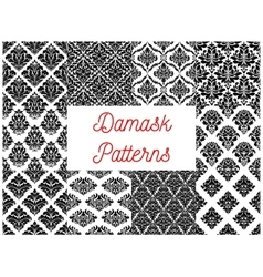 Damask ornate tracery seamless patterns set vector image
