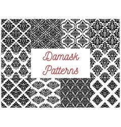 Damask ornate tracery seamless patterns set vector