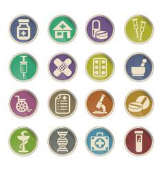 Pharmacy icon set vector