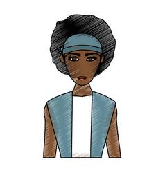 Color pencil cartoon half body brunette woman with vector