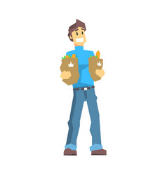Young man carrying two bags with food products vector