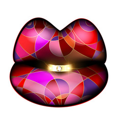 Abstract colored lips and diamond ring vector