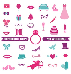 Wedding party set - photobooth props vector