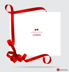 Cards with red gift bows and red ribbons vector