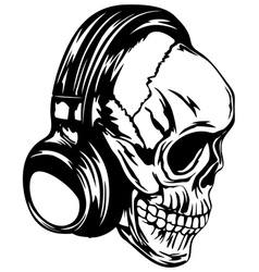 skull in headphones vector image