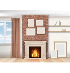 Interior with fireplace and window vector