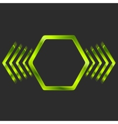 Abstract green metal hexagon and arrows shape vector