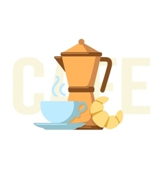 Coffee maker coffee cup and croissant vector image