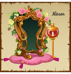 Antique mirror in gold frame with flowers vector