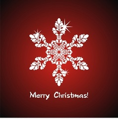White snowflake on red background vector