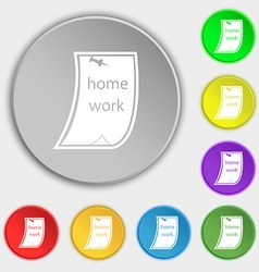 Homework icon sign symbol on eight flat buttons vector