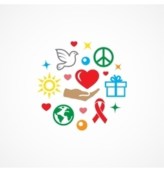 Charity with icons vector image