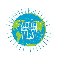 World environment day earth in grunge style emblem vector