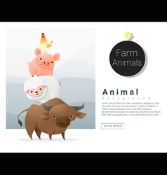 Farm animals background vector