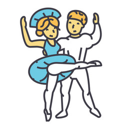 ballet couple man and woman dance ballerina vector image