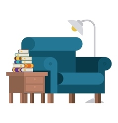 Books chair table and lamp design vector