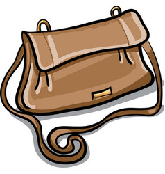 Brown leather bag vector