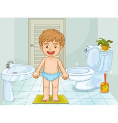 Child in bathroom vector image