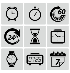 Clock and time icons set vector image vector image