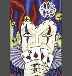 Colorful engraved card with joker vector